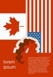 Bandeira da Web, molde da disposição do encabeçamento Relacionamento político, econômico entre EUA e Canadá Imagens de Stock