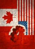 Bandeira da Web, molde da disposição do encabeçamento Relacionamento político, econômico entre EUA e Canadá Foto de Stock