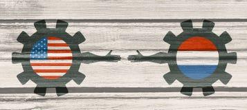 Bandeira da Web, molde da disposição do encabeçamento Relacionamento político, econômico entre EUA e Países Baixos Foto de Stock Royalty Free