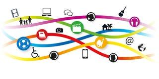 Bandeira da Web que ilustra uma rede de cultural, de esportes e de atividades artísticas ilustração royalty free