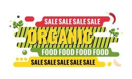 Bandeira da Web da venda do alimento biológico projeto gráfico geométrico Ilustração do Vetor
