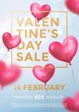 Bandeira da Web da venda do dia de são valentim de balões vermelhos do coração no brilho claro no fundo azul Texto dourado da ven ilustração stock