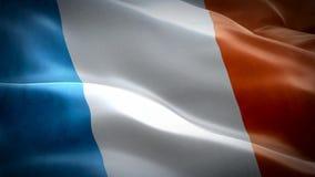 Bandeira dando laços sem emenda realística de 3d França que acena no vento vídeos de arquivo