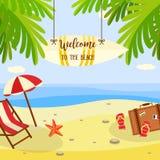 A bandeira das férias da praia do verão com os acessórios da sala de estar e do curso na areia com palmeiras aproxima a água do m ilustração stock