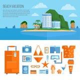 Bandeira das férias da praia e grupo do objeto Coisas para o curso do verão ilustração stock