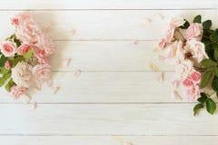 Bandeira das flores Background Ramalhete de rosas cor-de-rosa bonitas no fundo de madeira branco foto de stock royalty free