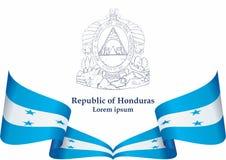 Bandeira das Honduras, Republic of Honduras Molde para o projeto da concess?o, um documento oficial com a bandeira das Honduras ilustração do vetor