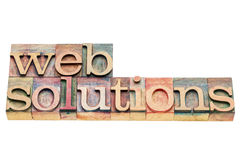Bandeira das soluções da Web no tipo da madeira da tipografia Foto de Stock Royalty Free