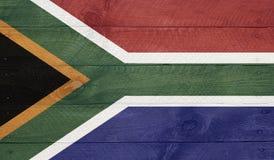 Bandeira de África do Sul nas placas de madeira com pregos Fotografia de Stock Royalty Free