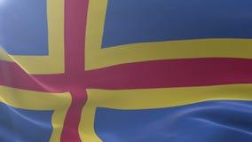 Bandeira de Aland que acena no mastro de bandeira no vento, símbolo nacional da liberdade ilustração stock