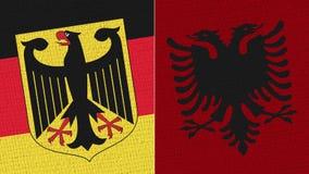 Bandeira de Alemanha e de Albânia fotos de stock royalty free