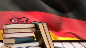 Bandeira de Alemanha que acena atrás da tabela de madeira vídeos de arquivo