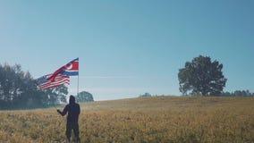 Bandeira de América e de Coreia do Norte filme