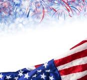 Bandeira de América e fundo do bokeh com espaço do fogo de artifício e da cópia Foto de Stock Royalty Free