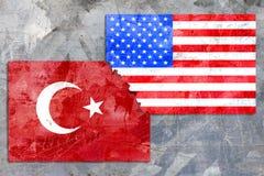 Bandeira de América e de Turquia Fotos de Stock Royalty Free