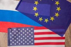 Bandeira de América, Europa, Rússia Fotografia de Stock Royalty Free