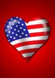 Bandeira de América na forma do coração Fotos de Stock Royalty Free