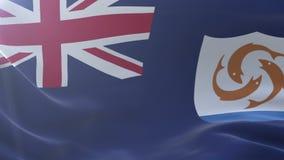 Bandeira de Anguila que acena no mastro de bandeira no vento, símbolo nacional da liberdade ilustração stock