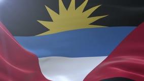 Bandeira de Antígua e Barbuda que acena no vento, símbolo nacional da liberdade ilustração stock