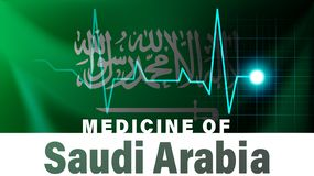 Bandeira de Arábia Saudita e linha ilustração da pulsação do coração Medicina de Arábia Saudita com nome de país ilustração stock