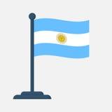 Bandeira de Argentina isolada no fundo branco Fotos de Stock Royalty Free