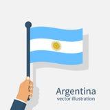 Bandeira de Argentina nas mãos dos homens Imagem de Stock Royalty Free