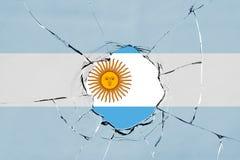 Bandeira de Argentina no vidro ilustração do vetor