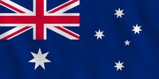 Bandeira de Austrália com efeito de ondulação, proporção oficial ilustração stock