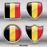 Bandeira de Bélgica na coleção de 4 formas com trajeto de grampeamento Imagem de Stock