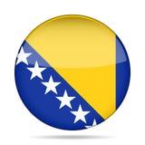 Bandeira de Bósnia e de Herzegovina, botão redondo brilhante Imagens de Stock