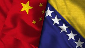 Bandeira de Bósnia e de Herzegovina e de China -- bandeiras da ilustração 3D ilustração do vetor