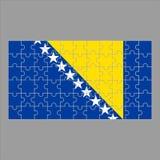 Bandeira de Bósnia e de Herzegovina do enigma em um fundo cinzento ilustração do vetor