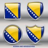 Bandeira de Bósnia & de Herzegovina na coleção de 4 formas com trajeto de grampeamento Fotografia de Stock Royalty Free