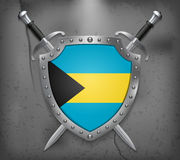 Bandeira de Bahamas O protetor tem a ilustração da bandeira Imagem de Stock