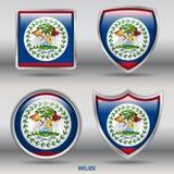 Bandeira de Belize na coleção de 4 formas com trajeto de grampeamento Foto de Stock Royalty Free