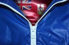 Bandeira de Bermuda sob o zíper desembalado fotos de stock