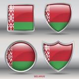 Bandeira de Bielorrússia na coleção de 4 formas com trajeto de grampeamento Fotografia de Stock
