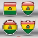 Bandeira de Bolívia na coleção de 4 formas com trajeto de grampeamento Fotos de Stock Royalty Free