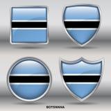 Bandeira de Botswana na coleção de 4 formas com trajeto de grampeamento Fotos de Stock