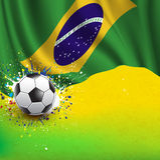 Bandeira de Brasil & bola de futebol no fundo, no vetor & na ilustração da textura do grunge Fotografia de Stock Royalty Free
