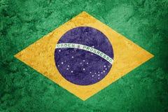 Bandeira de Brasil do Grunge Bandeira brasileira com textura do grunge imagens de stock