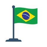 Bandeira de Brasil isolada no fundo branco Foto de Stock Royalty Free