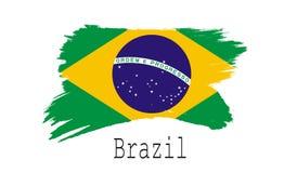 Bandeira de Brasil no fundo branco Foto de Stock Royalty Free