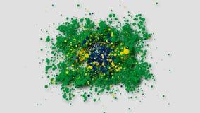 A bandeira de Brasil que aparece gradualmente das partículas com canal alfa ilustração do vetor