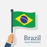 Bandeira de Brasil que guarda à disposição Fotos de Stock Royalty Free