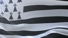Bandeira de Brittany que acena no mastro de bandeira no vento, símbolo nacional da liberdade ilustração royalty free