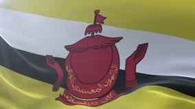 Bandeira de Brunei Darussalam que acena no mastro de bandeira no vento, símbolo nacional da liberdade ilustração royalty free