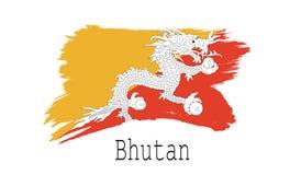 Bandeira de Butão no fundo branco Fotos de Stock