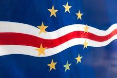 Bandeira de Cabo Verde pintada Imagens de Stock