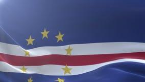Bandeira de Cabo Verde que acena no mastro de bandeira no vento, símbolo nacional da liberdade ilustração royalty free